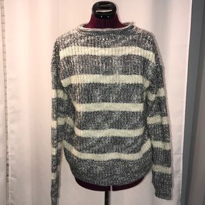 Sweaters - Cowl Neck, Gray and Cream Sweater